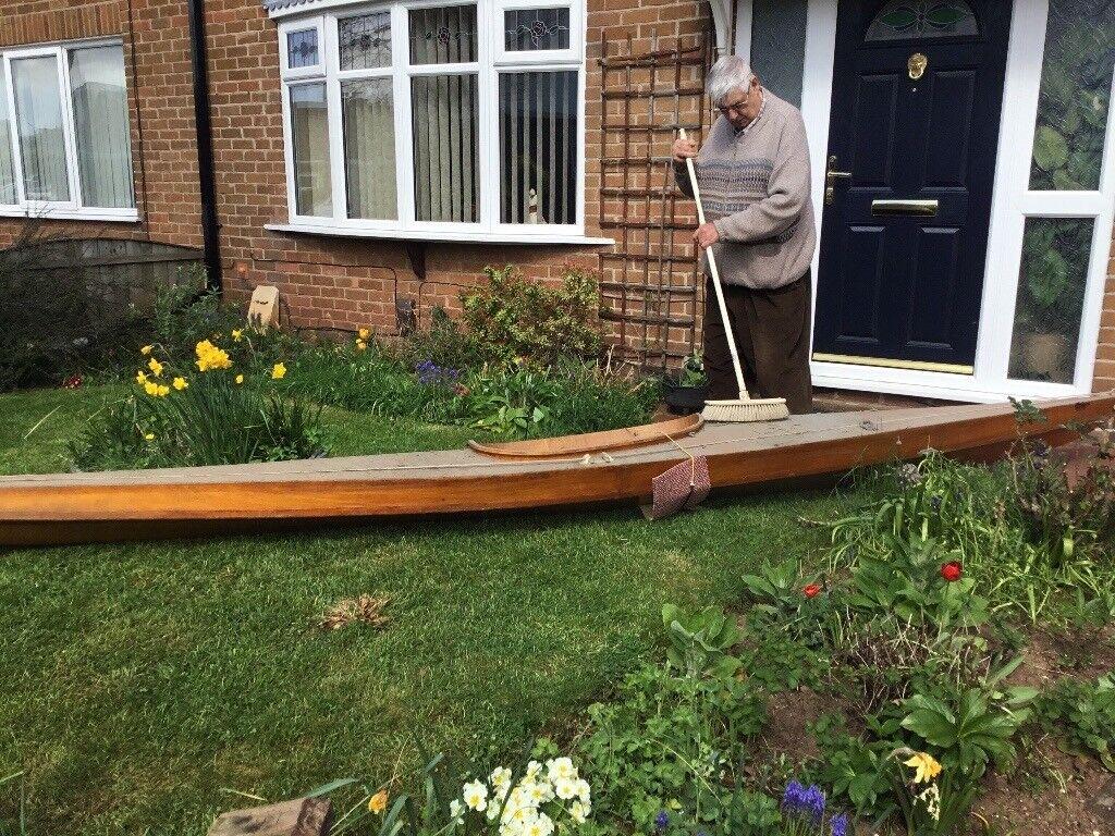 Hand built canoe