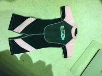 Kids shortie wetsuits and flippers
