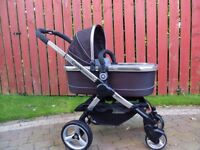 Immaculate Icandy Peach 2 pram / pushchair with carrycot & raincover, Black Jack, immaculate!!