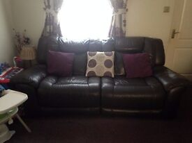 DFS Dark Brown Leather 3 seater reclining Sofa, armchair and footstool