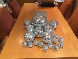 Christmas Decorations Mirror Globes Large Medium and Small or Disco Ball