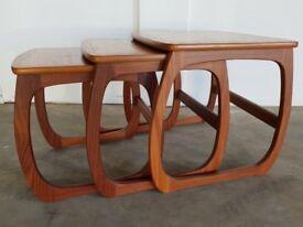 NATHAN FURNITURE CLASSIC RANGE BURLINGTON TEAK NEST OF TABLES DELIVERY AVAILABLE