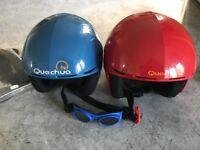 Children's Ski Helmets and Pair of Goggles