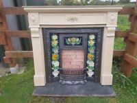 103 Cast Iron Fireplace fire Insert victorian style Surround old tiles vintage
