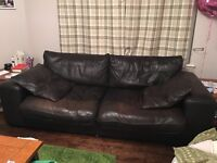 Large 3 seater DFS brown leather sofa