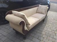 Beautiful Reupholstered Victorian Double Ended Oak Sofa / Chaise