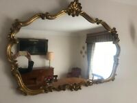 Antique Style Ornate Gold Wide Wall Mirror