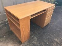 John Lewis handsome beech desk, good condition, 3 drawers, built-in shelves, sliding keyboard tray