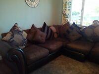 corner sofa and pouffee