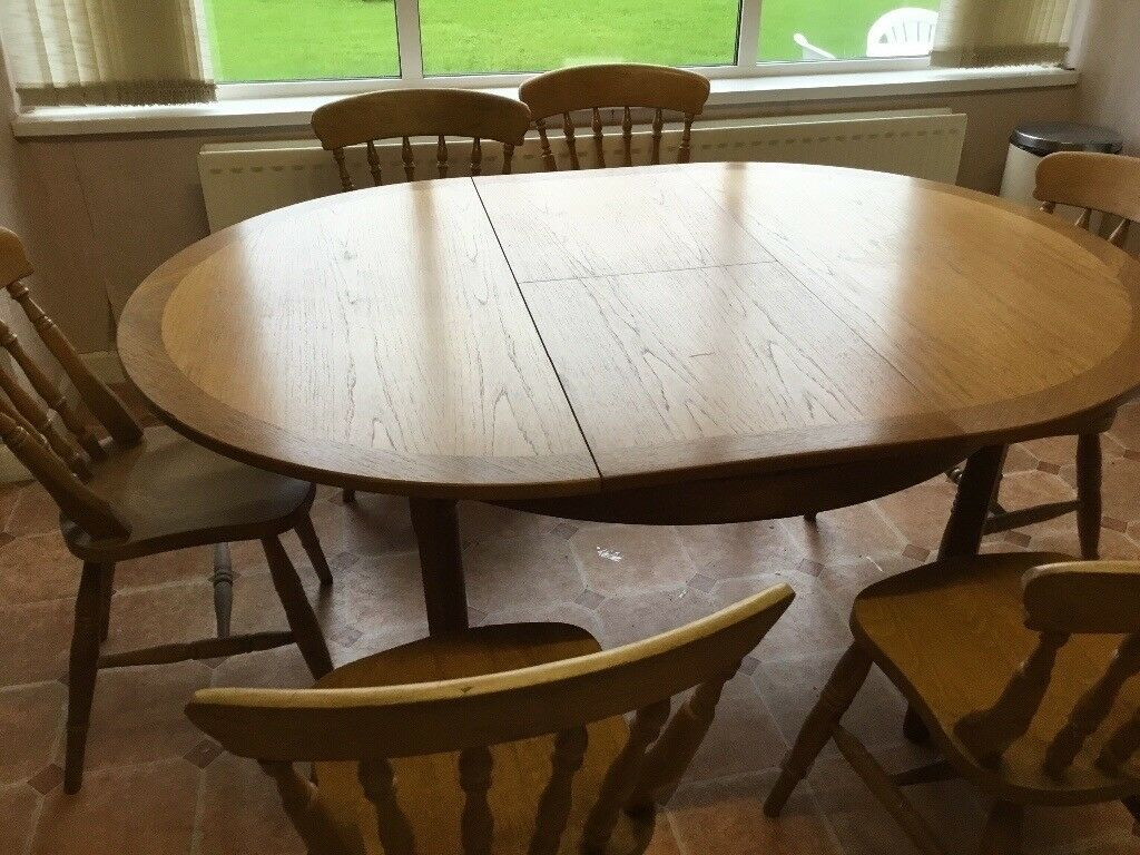 Light oak extendable dining table and 6 chairs | in ...
