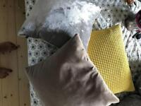 3 velvet cushions down filled Ikea, Habitat and Oliver Bonas. Yellow, grey, mink