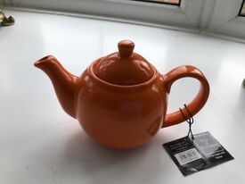 Orange Teapot with infuser new with Tags for 2 cups