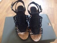 BCBG Leather wedges sandals size 5.5