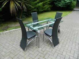 Heavy Glass Table & 4 Chairs (Extendable)