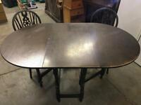 Small gate leg table & 2 chairs