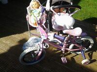 Girls bike,pram and dolls