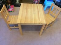 Children's desk with 2 chairs a solid wood