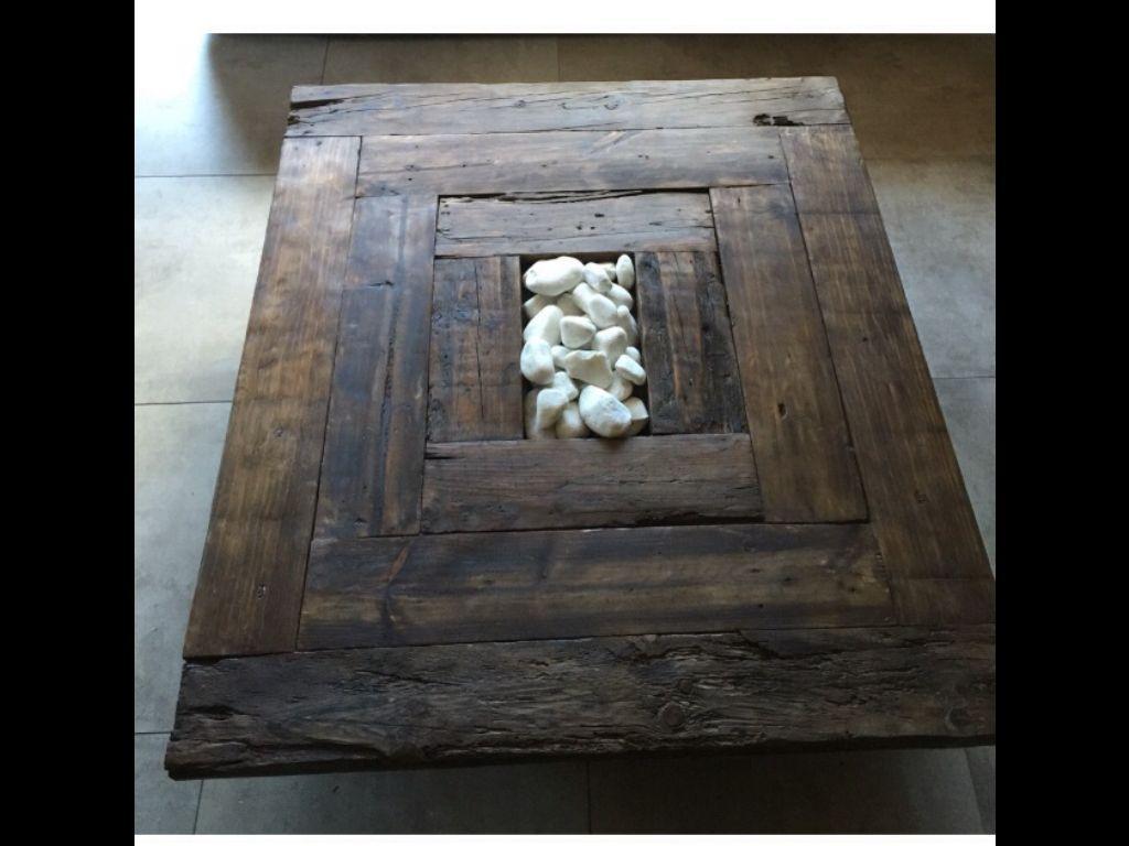 Mesa de centro madera reciclada dise o nico caldes de for Loquo muebles