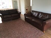 Abbey Leather Sofa M&S. Matching pair Large and Medium leather Abbey Sofas.