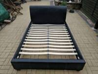 Faux leather double bed frame and matress - black - excellent condition
