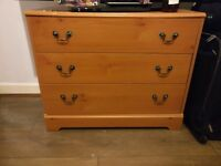 Wooden chest of drawers. Three drawers. (78 cm W x 64 cm H x 39 cm D)