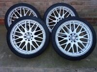 "17"" white alloy wheels with tyres"