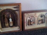 2 wine bottle pictures in frames 3d