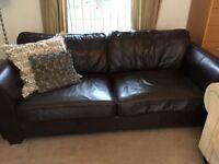 Beautiful dark brown 3 seater sofa