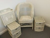 Wicker chair , bedside drawer units and small cabinet