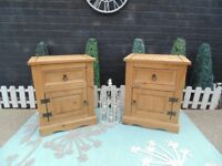 PAIR OF CORONA PINE BEDSIDE CABINETS SOLID UNITS AND IN VERY GOOD CONDITION 53/38/67 cm £70