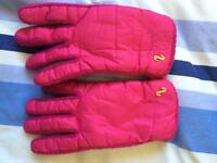Pair of bright pink ladies gloves.