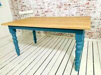 Oak AB Grade Extending Farmhouse Dining Table - All Sizes - Any Farrow & Ball Colour