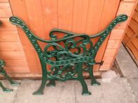 2 prs cast iron bench chair ends refurbed /painted green heavy