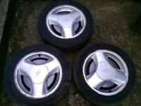 3 Rs turbo ford fiesta alloys rare find 185/5/15 with good tyres on £100 or nearest offer