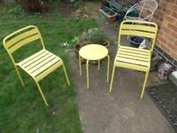 2 x metal garden chairs & side table