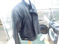 LEATHER BIKER JACKET SIZE 46 , BOOTS AND GLOVES £50 THE LOT !!