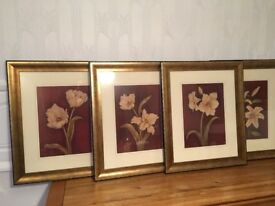 "GREAT XMAS Gift. 4x Pictures lovely bronze/ gold frames. 24"" x 19 half""."