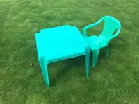 Childs plastic table and chair