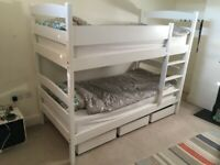 VGC sturdy solid wood bunk bed, converts to 2 identical single bed +AS NEW mattress & under drawers