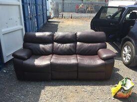 DFS Pellissima three seater Dark chocolate leather recliner sofas RRP £1295