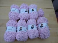 Wool Rico Mini Pompon pastel pink 700g+ with baby blanket pattern £15