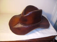 BROWN LEATHER STETSON COWBOY TYPE HAT