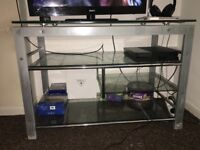 Metal Frame desk with glass shelves