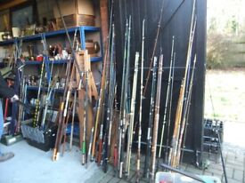 RODS LARGE SELECTION ALL SORTS OF FISHING RODS ALL IN USED CONDITION PRICES START AT £5 EACH