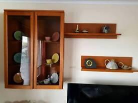 Teak wall mounted display cabinet, teak base unit and two teak shelves.