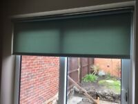 Patio Door & window roller blinds. Less than a year old. Excellent condition. Teal.