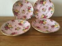 Royal albert old country roses dusky pink lace 4x saucer excellent condition collectors item