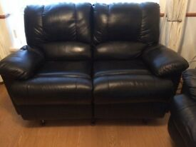 3&2 sofa recliner,s thick black leather v.g.c just over 2years old