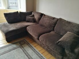 Brown velvet L.Shaped sofa for sale