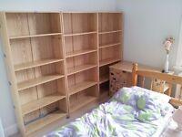 2x Pine Wood Shelves Shelving Units Storage Clothing DVD Books Bookshelf Bedroom Living Room Study